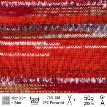 Drops Fabel garn 159 red chilli print