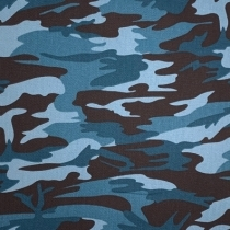 Fast bomuld twill med camoulage print, blå