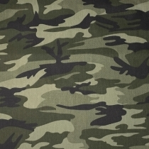 Fast bomuld twill med camoulage print, grøn