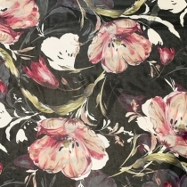 Chiffon med store blomster